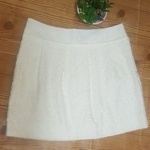 Loft White Embroidered Floral Lined Skirt Size 6
